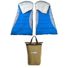 2x Adventure Kings - Hooded Sleeping Bag + Doona/Pillow Canvas Bag