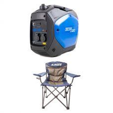 Adventure Kings 2.0kVA Inverter Generator + Adventure Kings Throne Camping Chair