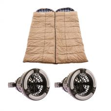 2x Adventure Kings Premium Sleeping bag -5°C to 5°C Degrees Celsius - Left and Right Zipper + 2x Adventure Kings 2in1 LED Light & Fan
