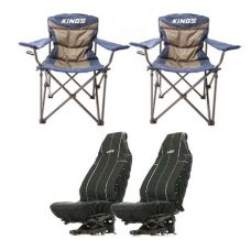 2x Adventure Kings Throne Camping Chair + Adventure Kings Heavy Duty Seat Covers (Pair)
