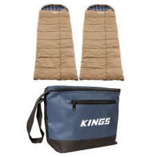 2x Adventure Kings Premium Sleeping bag -5°C to 5°C Degrees Celsius - Left and Right Zipper + Cooler Bag