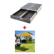 Titan Rear Drawer with Wings suitable for Toyota Landcruiser 200 Series + Adventure Kings Rear Awning - 1.4 x 2m