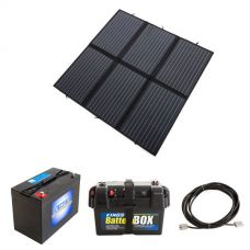 Adventure Kings 200W Solar Blanket with MPPT + Battery Box + AGM Deep Cycle Battery 115AH + 10m Lead For Solar Panel Extension