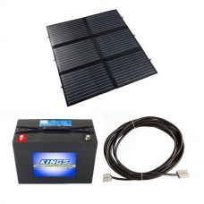 Adventure Kings 200W Portable Solar Blanket + AGM Deep Cycle Battery 98AH + 10m Lead For Solar Panel Extension