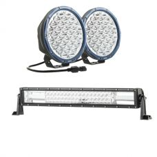 "Kings Domin8r X 9"" Driving Lights fitted with OSRAM LEDs (Pair) + Domin8r 22"" LED Light Bar"