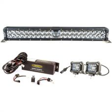 "Adventure Kings 24"" Laser Light Bar + Bar Wiring Harness + 4"" LED Light Bar"