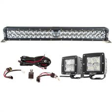 "Adventure Kings 24"" Laser Light Bar + 3"" LED Work Light - Pair + Wiring Harness"