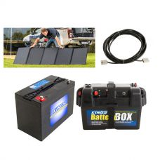 Adventure Kings 250W Solar Blanket + AGM Deep Cycle Battery 115AH + 10m Lead For Solar Panel Extension + Battery Box