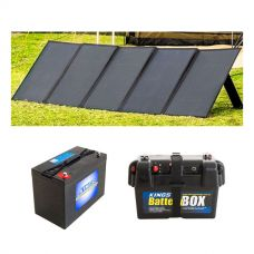 Adventure Kings 250W Solar Blanket with MPPT Regulator + AGM Deep Cycle Battery 115AH + Battery Box