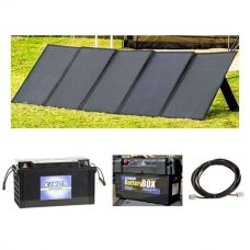 Adventure Kings 250W Solar Blanket with MPPT Regulator + 138Ah AGM Deep-Cycle Battery + Maxi Battery Box + 10m Lead For Solar Panel Extension