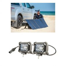 "Adventure Kings 250W Solar Blanket with MPPT Regulator + 4"" LED Light Bar (Pair)"