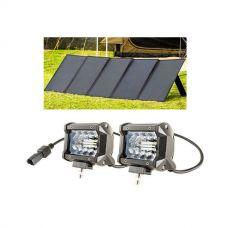 """Adventure Kings 250W Solar Blanket + 4"""" LED Light Bar (Pair)"""