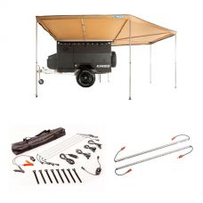King Wing Deluxe 270° Wrap-Around Awning + Illuminator 4 Bar Camp Light Kit + Orange LED Camp Light Extension Kit