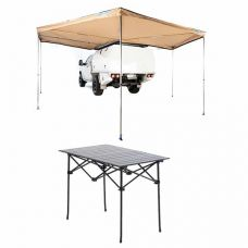 King Wing Deluxe 270° Wrap-Around Awning + Portable Alloy Camping Table