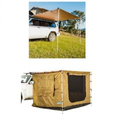 2.5 x 2.5m 2 in 1 Awning + Strip Light + Adventure Kings Awning Tent 2.5x 2.5m