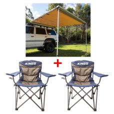 Adventure Kings Awning 2.5x2.5m + 2x Adventure Kings Throne Camping Chair
