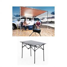 2.5 x 2.5m 2 in 1 Awning + Strip Light  + Aluminium Roll Up Camping Table