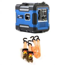 Adventure Kings 2KVA Generator Closed Case + Hercules Heavy Duty 3m Ratchet Strap (2 pack)