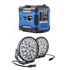 "Adventure Kings 2KVA Generator Closed Case + Kings Domin8r Xtreme 9"" LED Driving Lights (Pair)"