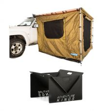 Adventure Kings 2x2.5m Awning Tent + Kings Portable Steel Fire Pit