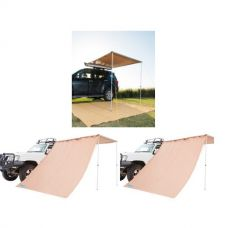 2 x 2.5m 2 in 1 Awning + Strip Light + 2x Adventure Kings Awning Side Wall