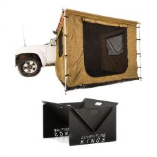 Adventure Kings 2 x 3m Awning Tent + Kings Portable Steel Fire Pit