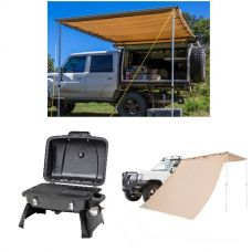 Gasmate Voyager Portable BBQ + Adventure Kings Awning 2x3m + Adventure Kings Awning Side Wall
