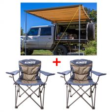 Adventure Kings Awning 2x3m + 2x Adventure Kings Throne Camping Chair