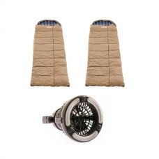 2x Adventure Kings Premium Sleeping bag -5°C to 5°C Degrees Celsius - Left and Right Zipper + Adventure Kings 2in1 LED Light & Fan