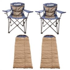 2x Adventure Kings Throne Camping Chair + 2x Adventure Kings Premium Sleeping bag -5°C to 5°C Degrees Celsius - Left and Right Zipper