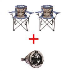 2x Adventure Kings Throne Camping Chair + Adventure Kings 2in1 LED Light & Fan