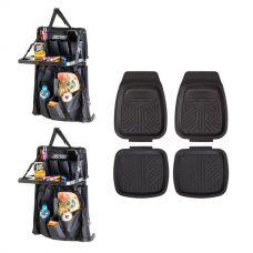 2x Adventure Kings Premium Car Seat Organiser with Folding Table + 4 Pack Kings Deep Dish Floor Mats