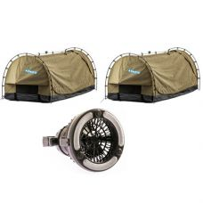 2x Kings Deluxe Escape Single Swag + 2in1 LED Light & Fan