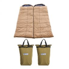 2x Adventure Kings Premium Sleeping bag -5°C to 5°C Degrees Celsius - Left and Right Zipper + 2x Doona/Pillow Canvas Bag