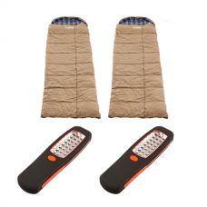 2x Adventure Kings Premium Sleeping bag -5°C to 5°C Degrees Celsius - Left and Right Zipper + 2x Illuminator 24 LED Work Light