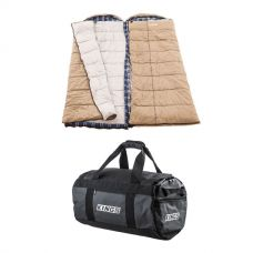 2x Adventure Kings Premium Sleeping bag -5°C to 5°C Degrees Celsius - Left and Right Zipper + 40L Large PVC Duffle Bag