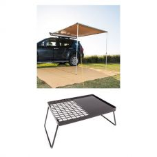 2 x 2.5m 2 in 1 Awning + Strip Light + Essential BBQ Plate