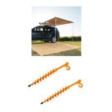 2 x 2.5m 2 in 1 Awning + Strip Light + 2x GroundGrabba - Lite
