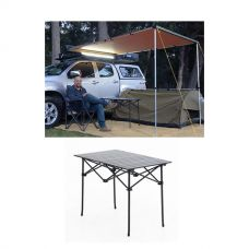 2 x 3m 2 in 1 Awning + Strip Light + Aluminium Roll Up Camping Table