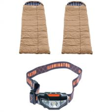 2x Adventure Kings Premium Sleeping bag -5°C to 5°C Degrees Celsius - Left and Right Zipper + Illuminator LED Head Torch