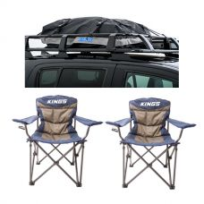 2x Adventure Kings Throne Camping Chair + Half-Length Premium Waterproof Rooftop Bag