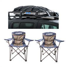 2x Adventure Kings Throne Camping Chair + Half-Length Premium Waterproof Rooftop Bag