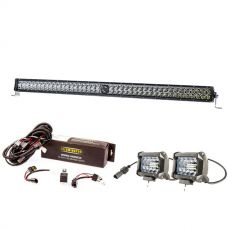 "Kings 30"" Laser Light Bar + Spotlight Wiring Harness + 4"" LED Light Bar"