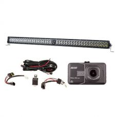 "Kings 30"" Laser Light Bar + Illuminator LED Light Bar Wiring Harness + Dash Camera"