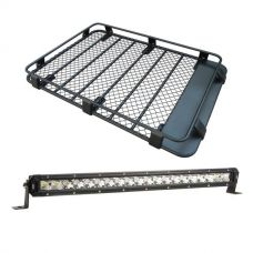 """Steel Roof Rack 3/4 Length + Kings 20"""" Slim Line LED Light Bar"""