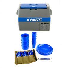 Adventure Kings 60L Camping Fridge/Freezer + Adventure Kings 37 Piece Picnic Set