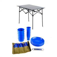 Adventure Kings 37 Piece Picnic Set + Adventure Kings Aluminium Roll Up Camping Table