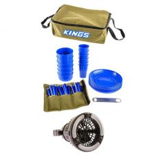 Adventure Kings 37 Piece Picnic Set + 2in1 LED Light & Fan