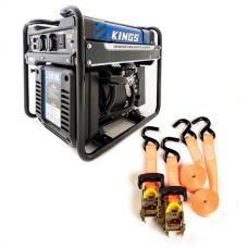 Adventure Kings 3.5kVA Open Generator + Hercules Heavy Duty 3m Ratchet Strap (2 pack)