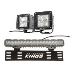 "Adventure Kings 3"" LED Work Light - Pair + 15"" Numberplate LED Light Bar"